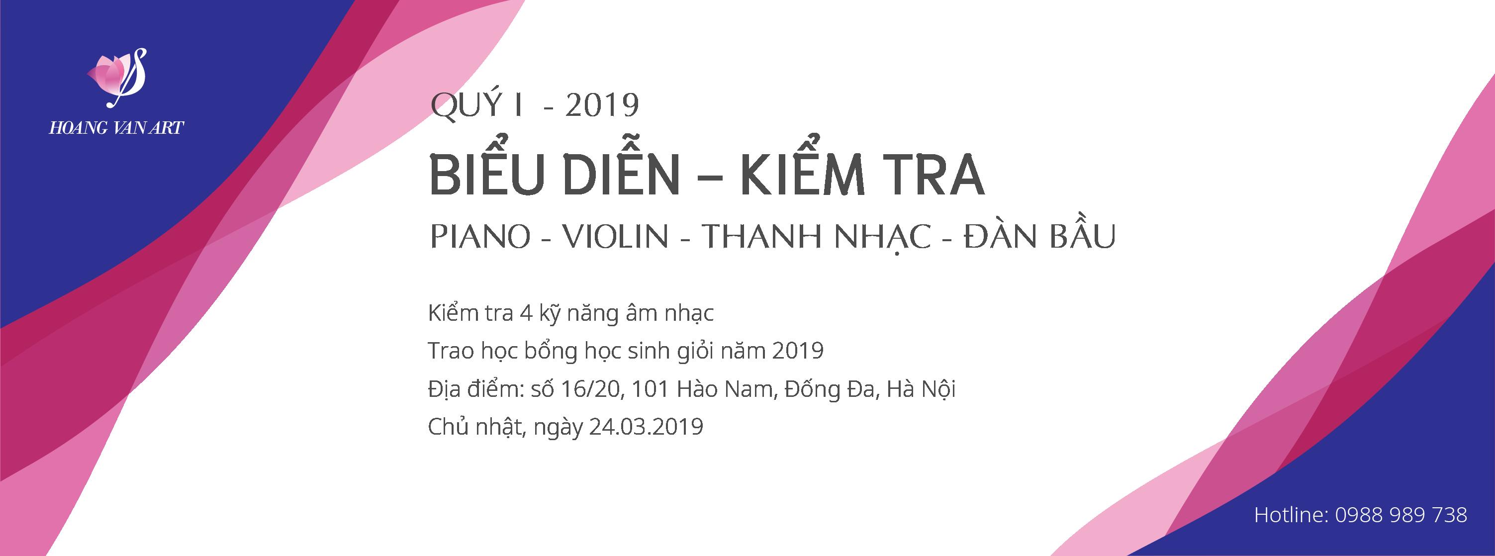 HoangVanArt - Kiểm tra biểu diễn quý 1 năm 2019. Trao học bổng, đánh giá 4 kỹ năng âm nhạc. Chủ nhật ngày 24/03/2019